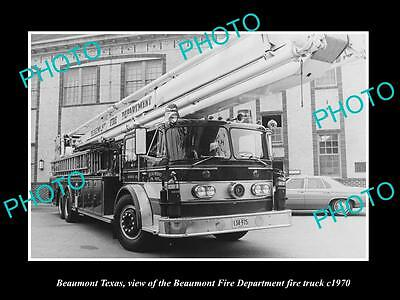 OLD LARGE HISTORIC PHOTO OF BEAUMONT TEXAS, THE FIRE DEPARTMENT TRUCK c1970