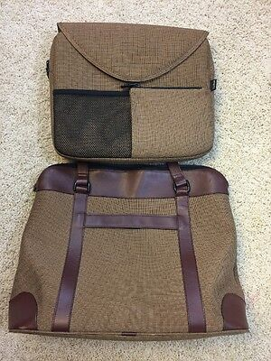 Women's LL Bean Travel Briefcase Bag Removable Computer Laptop Sleeve Leather