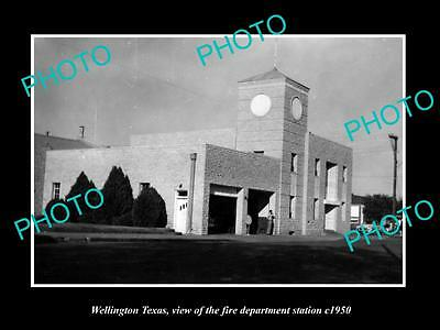 OLD LARGE HISTORIC PHOTO OF WELLINGTON TEXAS, THE FIRE DEPARTMENT STATION c1950
