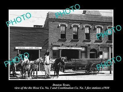 OLD LARGE HISTORIC PHOTO OF DENTON TEXAS, THE FIRE DEPARTMENT STATIONS c1910