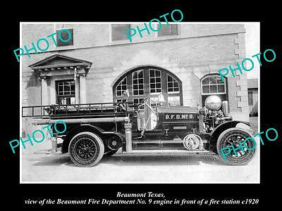 OLD LARGE HISTORIC PHOTO OF BEAUMONT TEXAS, THE FIRE DEPARTMENT TRUCK c1920