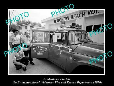 OLD LARGE HISTORIC PHOTO OF BRADENTOWN FLORIDA, THE BEACH FIRE DEPARTMENT c1970