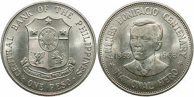 PHILIPPINES: 1963 1 Peso 100th Anniversary Birth of Andres Bonifacio #WC70993
