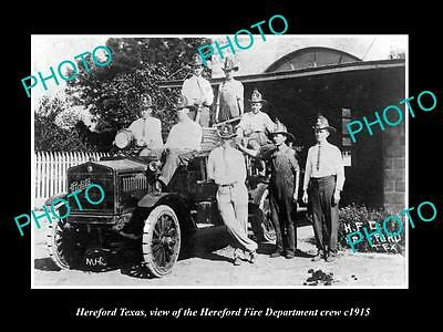 OLD LARGE HISTORIC PHOTO OF HEREFORD TEXAS, THE FIRE DEPARTMENT CREW c1915