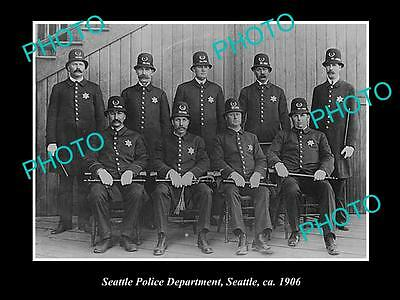 OLD LARGE HISTORIC PHOTO OF SEATTLE USA, THE POLICE DEPARTMENT GROUP c1906