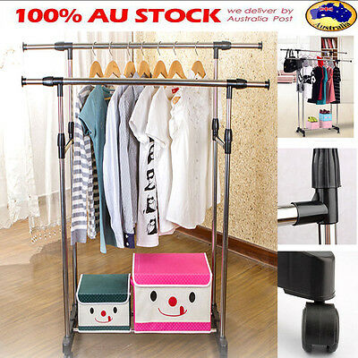 Double Adjustable Movable Garment Clothes Shoe Hanger Wardrobe Rack Wheel Stand