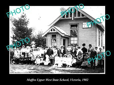 OLD LARGE HISTORIC PHOTO OF THE MAFFRA UPPER WEST STATE SCHOOL c1915 VICTORIA
