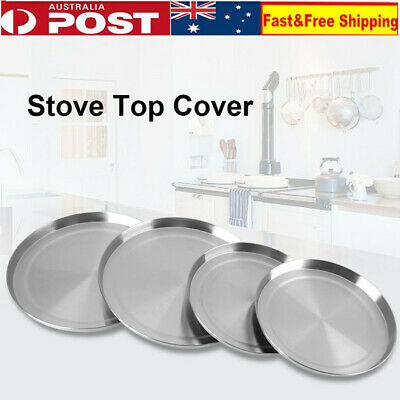 4pcs Round Stainless Steel Stove Top Covers Kitchen Cook Burner Protectors
