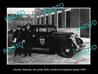 OLD LARGE HISTORIC PHOTO OF LINCOLN NEBRASKA, THE POLICE ACCIDENT SQAUD c1930