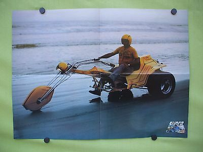 VTG  1980's double sided  poster.Mercedes Excalibur, custom tricycle motorcycle