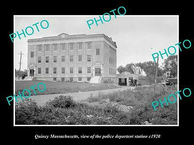 OLD LARGE HISTORIC PHOTO OF QUINCY MASSACHUSETTS, THE POLICE STATION c1920
