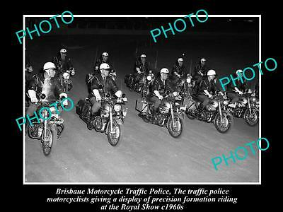 OLD HISTORICAL PHOTO OF THE BRISBANE MOTORCYCLE TRAFFIC POLICE, ROYAL SHOW 1960s