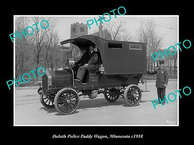 OLD LARGE HISTORIC PHOTO OF DULUTH MINNESOTA, THE POLICE PADDY WAGON c1910