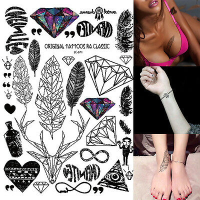Removable Waterproof Diamond Feather Arm Body Art Temporary Henna Tattoo Sticker