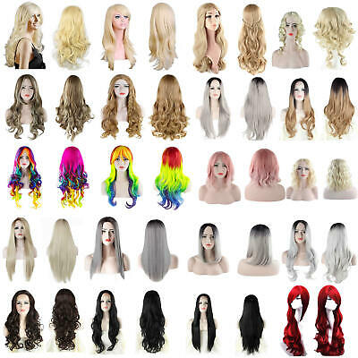 Wig Natural Curly Straight Wavy Fancy Dress Cosplay Party Women Ladies Hair Wigs