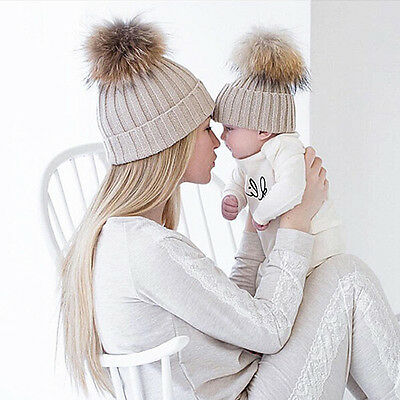 Kids Baby Boys Girls & Mom Hat Set Knitted Winter Warm Hats Beanie Cap Eyeful