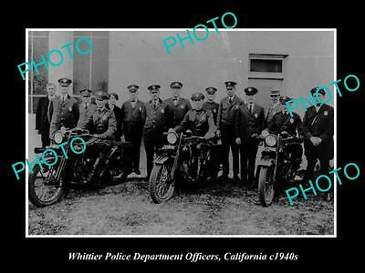 Old Large Historic Photo Of Whittier California, The Police Department Unit 1940