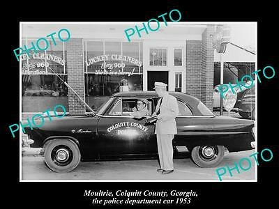 Old Large Historic Photo Of Moultrie Georgia, The Police Department Car, 1953