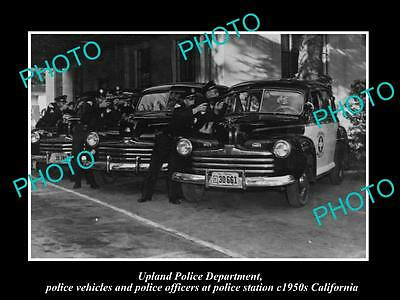 OLD LARGE HISTORIC PHOTO OF UPLAND CALIFORNIA, THE POLICE DEPARTMENT UNIT c1950s