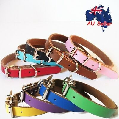 Genuine Real Leather Pet Dog Collar Suede Backing Blue Black Brown Pink Red