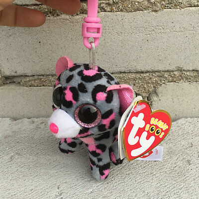 "new ty beanies boos Leopard Tasha plush clip on 3"" stuffed animal toy"