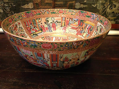 Monumental Antique Chinese Famille Rose Mandarin Punch Bowl.