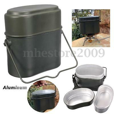 New Army Soldier Military Mess Kit Lunch Box Canteen Kettle Pot Bowl Picnic