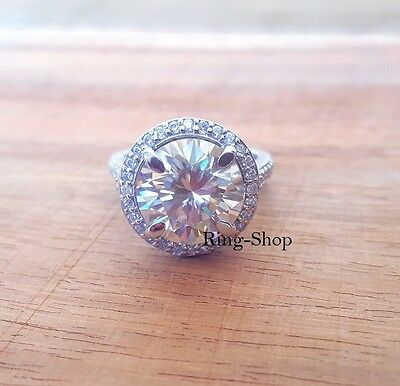 4.5 Carat Gorgeous Moissanite Ring Hug Halo Engagement Ring 925 Sterling Silver
