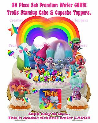 TROLLS Edible Cup Cake Wafer Toppers Birthday Party Decorations Kids STAND UP