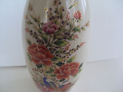Japan Porcelain Vase Birds With Flowers Crackle Cream Signed Red Mark