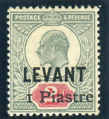 BRITISH LEVANT-1906 1pi on 2d Grey Green & Carmine UMM + CERT Sg 15