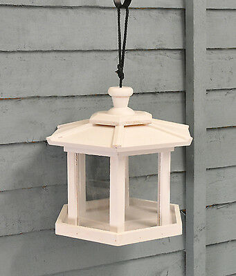 White Wooden Hexagonal Conservatory Hanging Bird Seed Feeder by Kingfisher