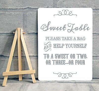 Sweet Table Candy Stall Cart Buffet Jar Sign With Easel Wedding Party A5 - Grey