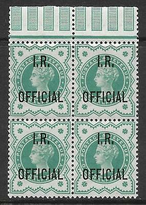 sg017 ½d Green 'I R OFFICIAL' overprint block of 4 UNMOUNTED MINT/MNH