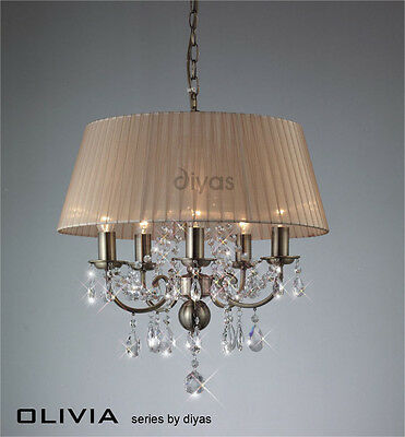 Diyas IL-IL30047 Olivia 5 Light Pendant Antique Brass/Soft Bronze Gauze Shade
