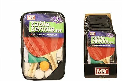 Table Tennis Game Set 2 Players Ping Pong Bats 3 Balls Net Pole Complete Gift