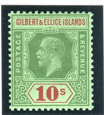 GILBERT & ELLICE ISLANDS-1924 10/- Green Red & Emerald LMM Sg 35