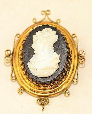 Antique Victorian White Stone Cameo On Black Background Pin With Fancy Frame
