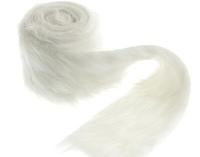 White Faux Fur Trim Roll - 80mm x 2m   Fabrics for Crafts