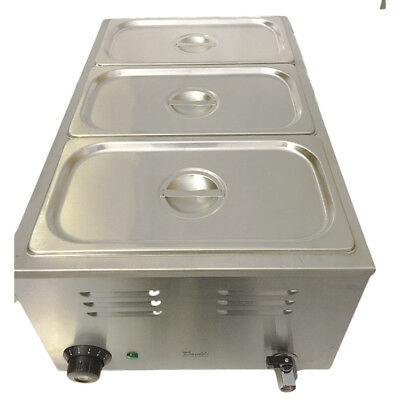 3 Pot Electric Wet Baine Marie Three Gastro Pans & Lids Sauce Soup Food Warmer