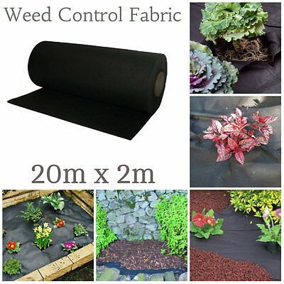 20m x 2m Weed Control Fabric Membrane Ground Sheet Garden Driveway 50x FREE Pegs