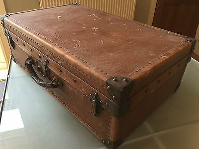 Old FRENCH Brown Tan VINTAGE Hard Flat Top SUITCASE Trunk Leather Handle 60X36cm