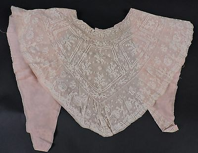 Beautifully Lace 19Th C Valenciennes Lace Collar / Cape W Florals
