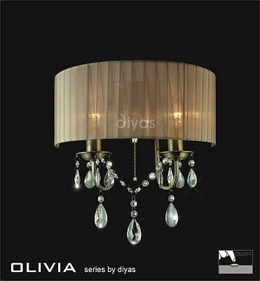 Diyas IL-IL30064/SB Olivia Double Wall Light Antique Brass/Soft Bronze Gauze