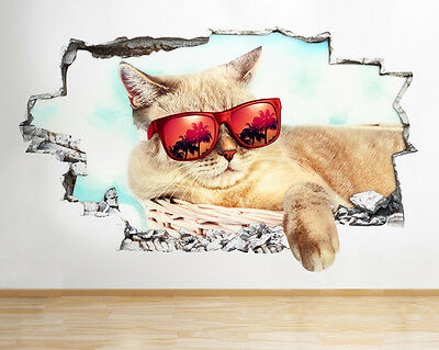 Q573 Cat Cool Glasses Kid Bedroom Smashed Wall Decal 3D Art Stickers Vinyl Room