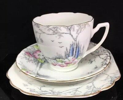 Pretty Vintage Art Deco Melba Bone China Trio - Floral -  Tea Cup, Saucer, Plate