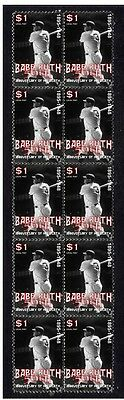 BABE RUTH BASEBALL 50th ANNIV STRIP OF 10 MINT STAMPS 3