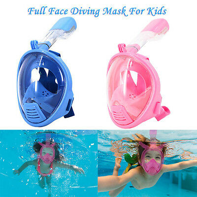 Kids Childrens Full Face Scuba Diving Mask Snorkel For GoPro Swim Anti-fog Tool