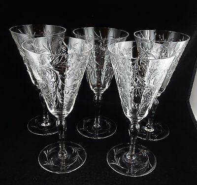 Five (5) Tuthill ABP Floral Engraved Crystal Glass Goblets