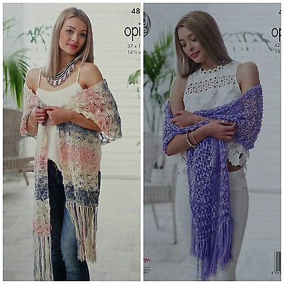 KNITTING PATTERN Womens Lacy Fringe Shawl/Wraps Opium Palette 4830 King Cole